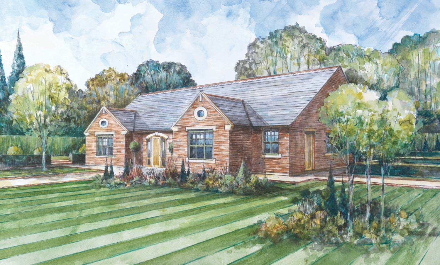 Exterior view of the The Hollyhock 5-bedroom bespoke detached bungalow
