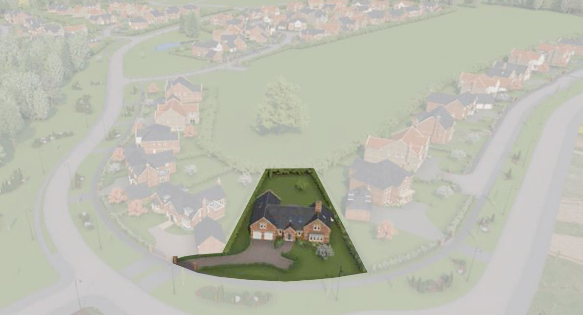 Aerial view of Meadow Cottage 5-bedroom bespoke dormer bungalow